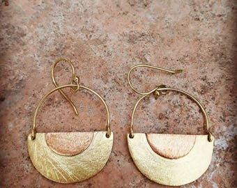 Half moon brass and coper earrings