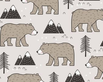 Gender Neutral Crib Skirt  and Valance with Bears, Mountains and Trees in Taupe, Grey and Black