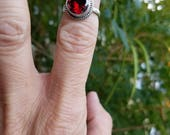 """Blazing Red Quartz Sterling Silver Ring - FREE 18"""" Sterling Silver Chain with Purchase!"""