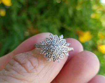Simulated Diamond Sterling Silver Ring - Snowflake Design