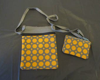 On-the-Go Purse - Gray and Orange Dots