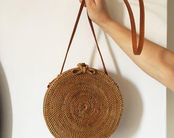 "The ""Compass"" Round Circle Rattan Bali Handwoven Ata Grass Boho Summer Handbag"