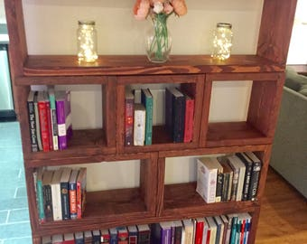 Rustic Bookcase: Thick Sectioned Book Shelves, Rustic Bookshelf custom sections, Custom Rustic Book Case