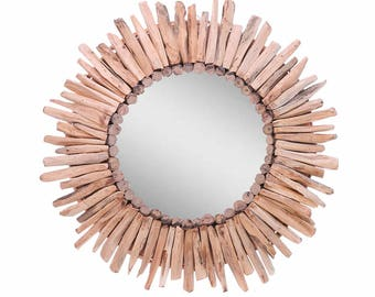 Davina Home Handmade Wooden Sunburst Wall Mirror, Handmade Wall Mirror, 24""