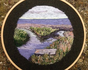 Creek and Sea Hand Embroidered Thread Painting