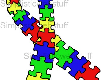 Autism Awareness Puzzle Piece Ribbon Clip Art