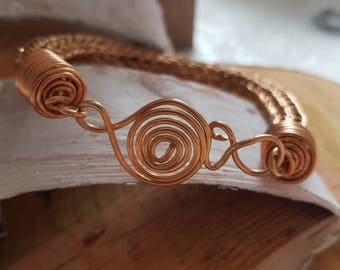 Beautiful large size viking knit bracelet made of copper