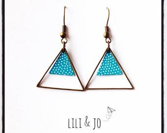 Bohemian collection: turquoise triangles with white dots and bronze rings earrings