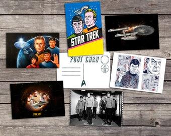 Star Trek set 6 postcards | captain kirk art poster | spock print | uss enterprise illustration | movie post card | PaperBunnyShop