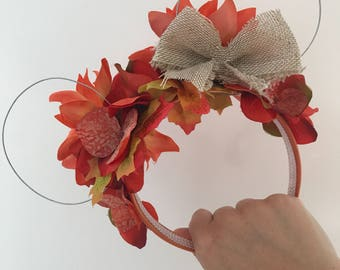 Autumn/fall halloween - Mickey wire floral ears
