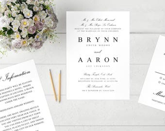 Printable Wedding Invitation Template | Formal Script | Word  |PC |Pages | Mac | Editable Artwork Colors - Instant DOWNLOAD