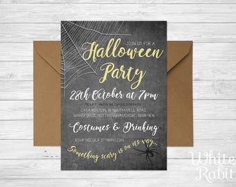 Printable Halloween Party Invitation - Chalkboard