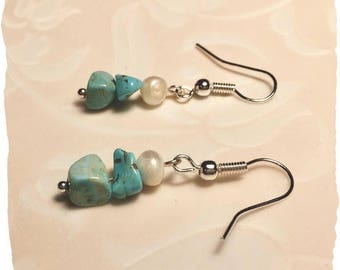 Genuine Freshwater Pearl and Turquoise Drop Earrings
