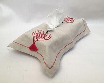 linen tissue cover - kitchen decor - gift - heart red