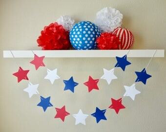 Red, White & Blue Stars Garland