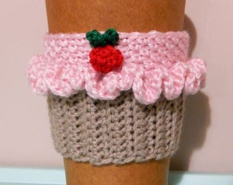 Strawberry Cupcake Coffee Cup Cozy