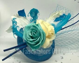 Blue and Cream Fascinator