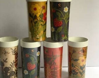 Vintage Thermo Serv Drinking Glasses - Set of 6   - Retro Embrodery Tumblers