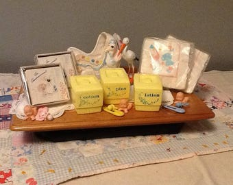 Vintage Baby Quilt, and Baby Shower Set