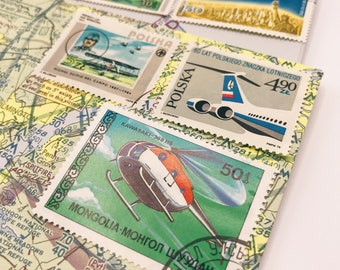 20 Vintage Used Aviation Stamps | Airplane | Helicopter | Mongolia | Russia | Poland | Romania