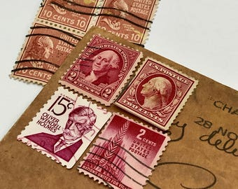 8 used vintage Red President vintage postage stamps | Perfect for scrapbooking, stamp collecting, snail mail art, and crafting
