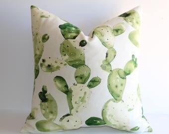 Green Pillow cover 12x18 12x21 14x20 18x18 20x20 22x22 24x24 28x28 14x36 / Cactus Pillow case / Desert pillow / Decorative throw pillow case