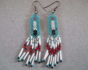 """Vintage Native American Indian Beaded Earrings 2 3/4"""" Long"""