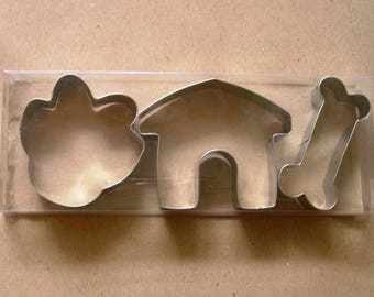 Dog Bone Kennel Paw Cookie Cutter Fondant Biscuit Pastry Baking Metal Set
