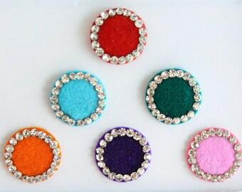 6 Big Round Wedding Bindis ,Round Bindis,Velvet Colorful Bindis,Colorful Face Jewels Bindis,Bollywood Bindis,Self Adhesive Stickers