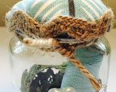 Upcycled Jar Sewing kit and pin cushion. The perfect small gift or an excellent wedding favour!