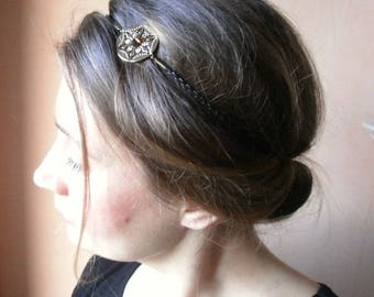 Romantic chic headpiece and faux leather and brass gold vintage headband