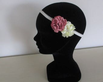 Headband flower child wedding bridesmaid honor procession flowers ivory and dusty pink.