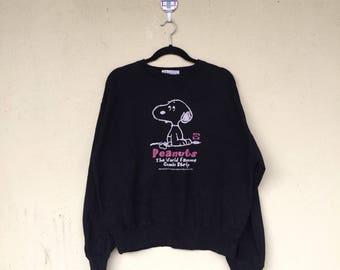 Rare!!Black Pullover Crew Neck Sweatshirt SNOOPY PEANUTS CARTOON Character Printed Peanuts Big Logo Peanuts Clothing Size Large