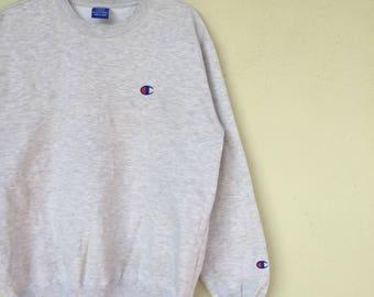 Rare!!CHAMPION ATHLETIC APPAREL Embroidery Small Logo Champion Crew Neck Sweatshirt Champion Unisex Clothing Size Large