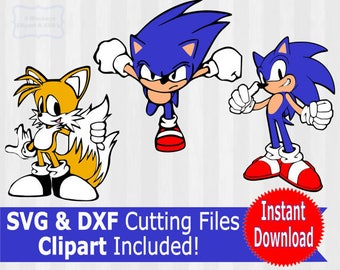Sonic the Hedgehog SVG, Sonic the Hedgehog clipart, Sonic svg, Tails svg, dxf files, svg files for silhouette, cricut download, cut files