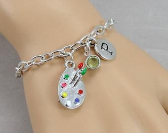 Artist Painter Charm Bracelet, Paint Palette Bracelet, Personalized Initial and Birthstone Bracelet, Silver Plated Link Charm Bracelet