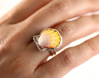 Sunrise Shell Ring, Sunrise Shell Jewelry, Sunrise Shell, Shell Ring, Hawaiian Sunrise Shell, Sterling Silver Ring, Beach Jewelry