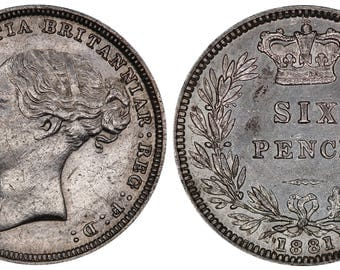 1881 Victoria silver sixpence coin of Great Britain