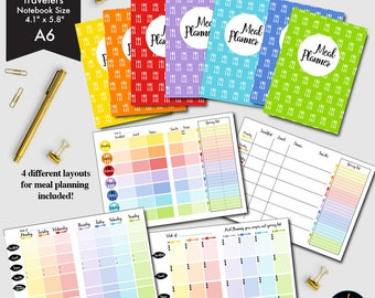 80%OFF A-6 size Meal Planner Printable, 4 different Weekly Meal Planners, Grocery lists, Menu Planning, Planner printable Insert-CMP-228.1