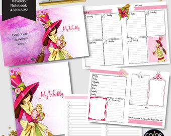 Standard size Tn Weekly Printable, Enna Girl Andrea Weekly Plan Printable Planner Insert.  CMP-244.12