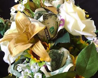 Money Bouquet - 24 Bills - Dozen Roses