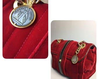 LANVIN bag/ Velvel/ Leather/ Red bag /Vintage /Lanvin/Shoulder bag