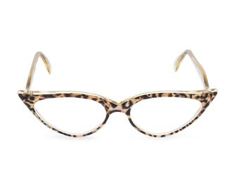 Outrageous dramatic & sexy almond shape Cat Eye Glasses Handmade for you 'JEANNE' Ocelot.Vintage style spectacle frame ready for your Rx