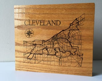 Reclaimed Oak Desktop Cleveland Map