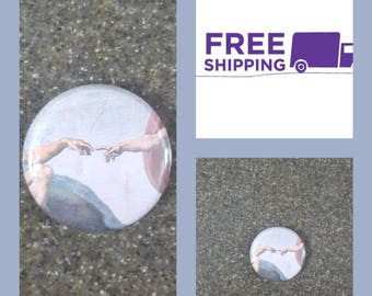 """1"""" The Creation of Adam Button Pin or Magnet, FREE SHIPPING & Coupon Codes"""