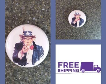 """1"""" Uncle Sam Button Pin or Magnet, FREE SHIPPING & Coupon Codes"""