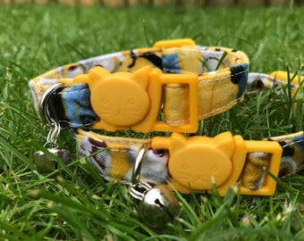 Handmade | Minions Cat Collar | Kitten Cat Collar | Cat Collar | Adjustable Cat Collar | Safety Collar | Breakaway Collar | Collar with Bell