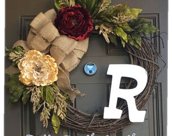 Year round monogram wreath for front door - all year peony wreath - everyday wreath with initital - front door wreath with burlap bow
