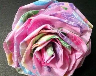 Fabric Rose Barrette Pink Butterflies