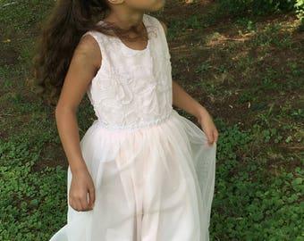 Girls dresses- special occasion dress- flower girl dress- Blush